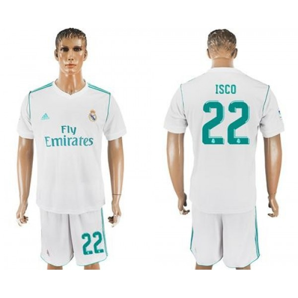 Real Madrid #22 Isco White Home Soccer Club Jersey