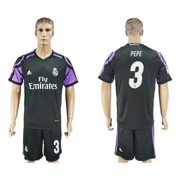 Real Madrid #3 Pepe Sec Away Soccer Club Jersey