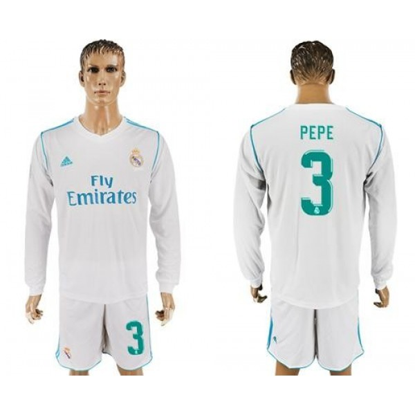 Real Madrid #3 Pepe White Home Long Sleeves Soccer Club Jersey