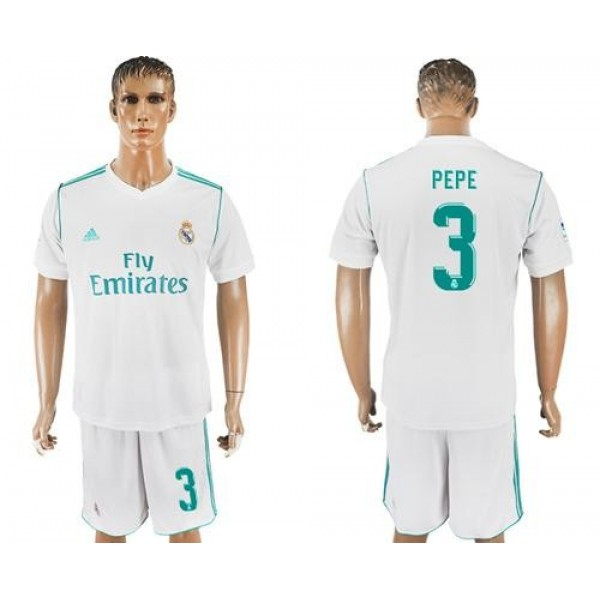 Real Madrid #3 Pepe White Home Soccer Club Jersey