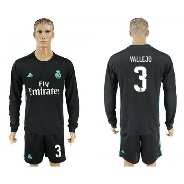 Real Madrid #3 Vallejo Away Long Sleeve Soccer Club Jersey