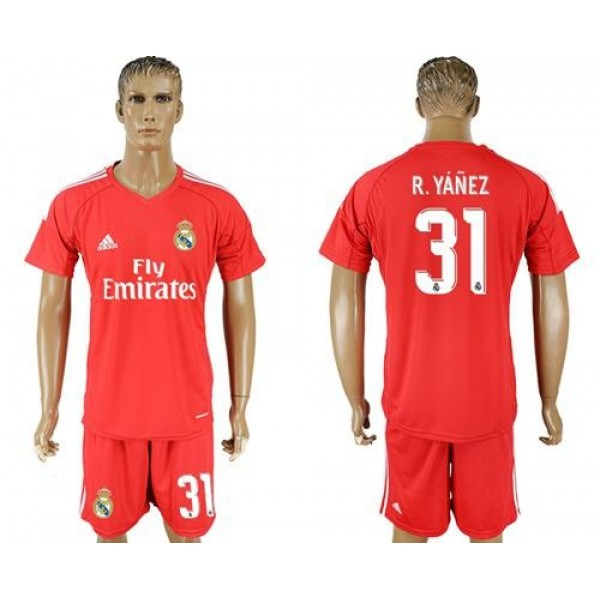 Real Madrid #31 R.Yanez Red Goalkeeper Soccer Club Jersey