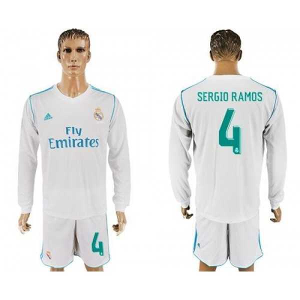 Real Madrid #4 Sergio Ramos White Home Long Sleeves Soccer Club Jersey
