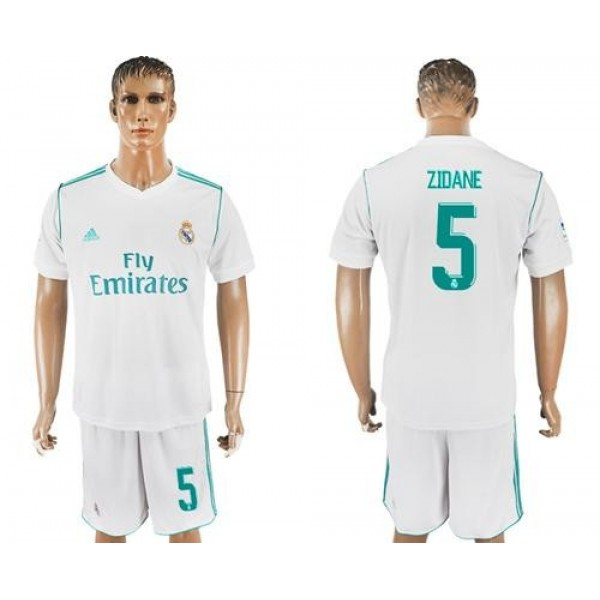 Real Madrid #5 Zidane White Home Soccer Club Jersey
