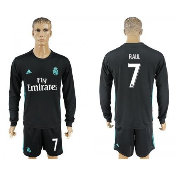 Real Madrid #7 Raul Away Long Sleeves Soccer Club Jersey