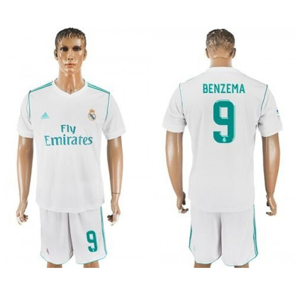 Real Madrid #9 Benzema White Home Soccer Club Jersey