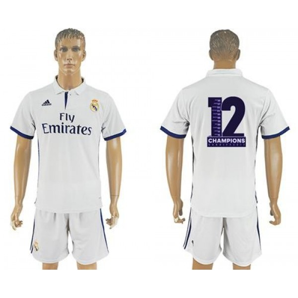 Real Madrid Blank Champions Home Soccer Club Jersey