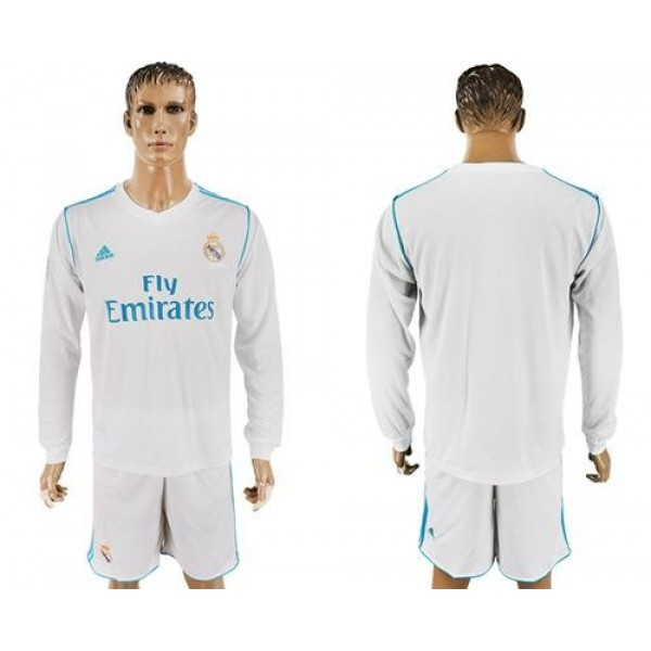 Real Madrid Blank White Home Long Sleeves Soccer Club Jersey