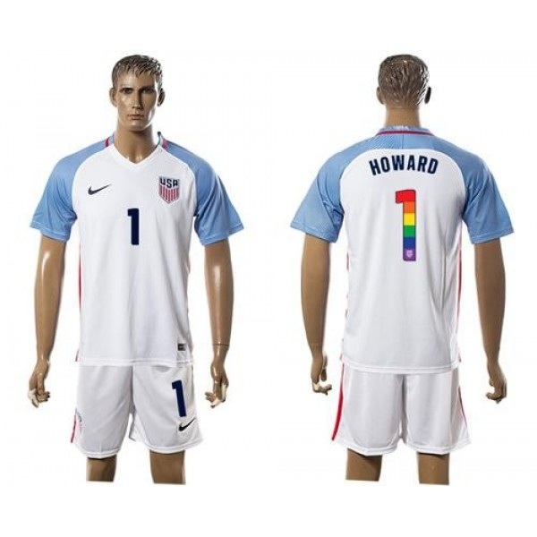 USA #1 Howard White Rainbow Soccer Country Jersey