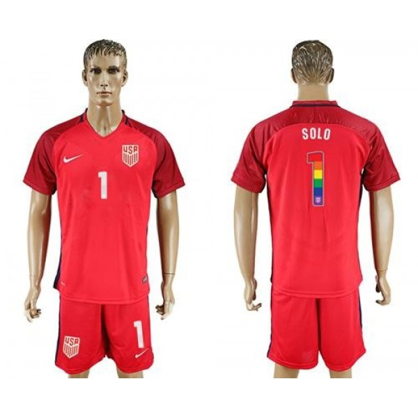 USA #1 Solo Red Rainbow Soccer Country Jersey