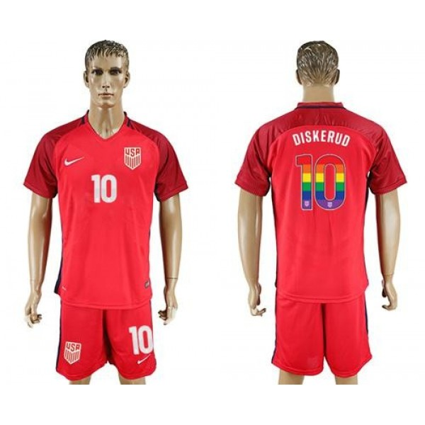 USA #10 Diskerud Red Rainbow Soccer Country Jersey