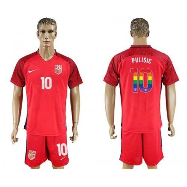 USA #10 Pulisic Red Rainbow Soccer Country Jersey