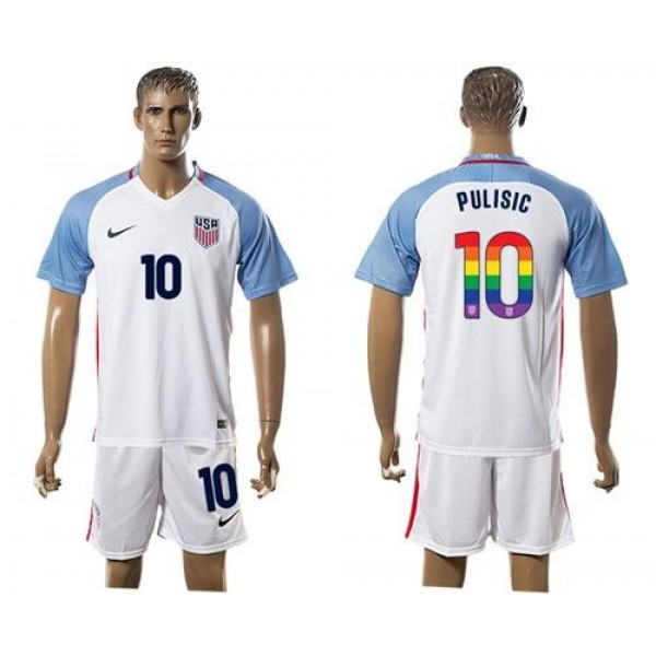 USA #10 Pulisic White Rainbow Soccer Country Jersey