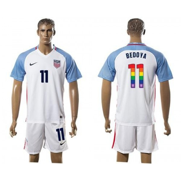 USA #11 Bedoya White Rainbow Soccer Country Jersey