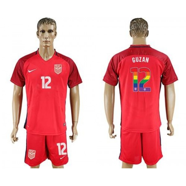 USA #12 Guzan Red Rainbow Soccer Country Jersey