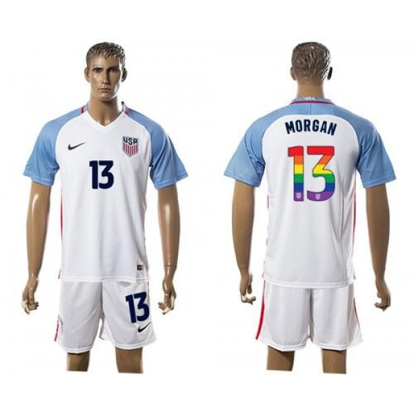 USA #13 Morgan White Rainbow Soccer Country Jersey