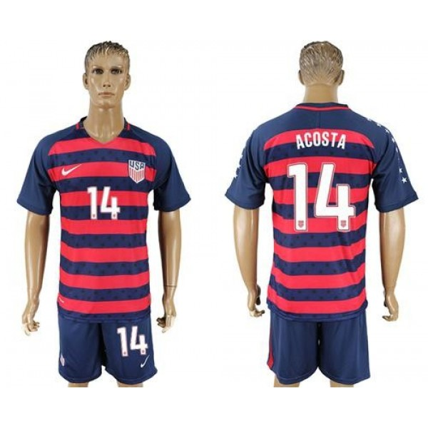 USA #14 Acosta Away Soccer Country Jersey