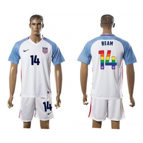 USA #14 Ream White Rainbow Soccer Country Jersey