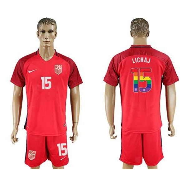 USA #15 Lichaj Red Rainbow Soccer Country Jersey