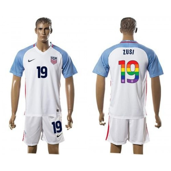 USA #19 Zusi White Rainbow Soccer Country Jersey