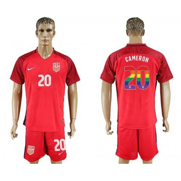 USA #20 Cameron Red Rainbow Soccer Country Jersey