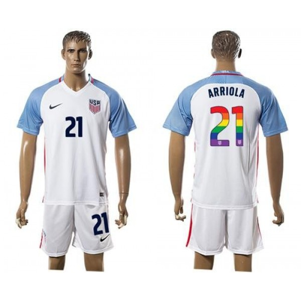 USA #21 Arriola White Rainbow Soccer Country Jersey