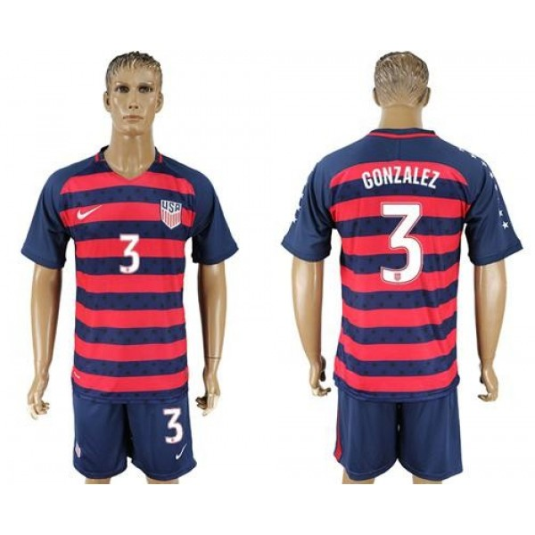 USA #3 Gonzalez Away Soccer Country Jersey