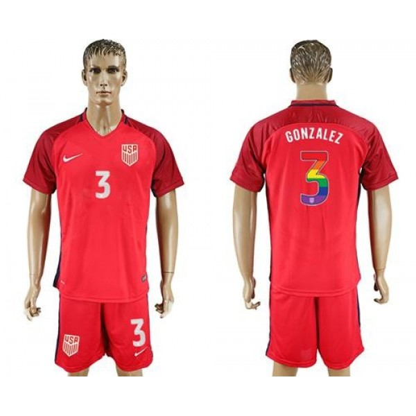 USA #3 Gonzalez Red Rainbow Soccer Country Jersey