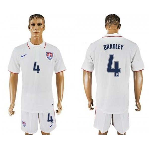 USA #4 Bradley Home Soccer Country Jersey
