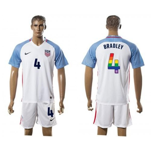 USA #4 Bradley White Rainbow Soccer Country Jersey