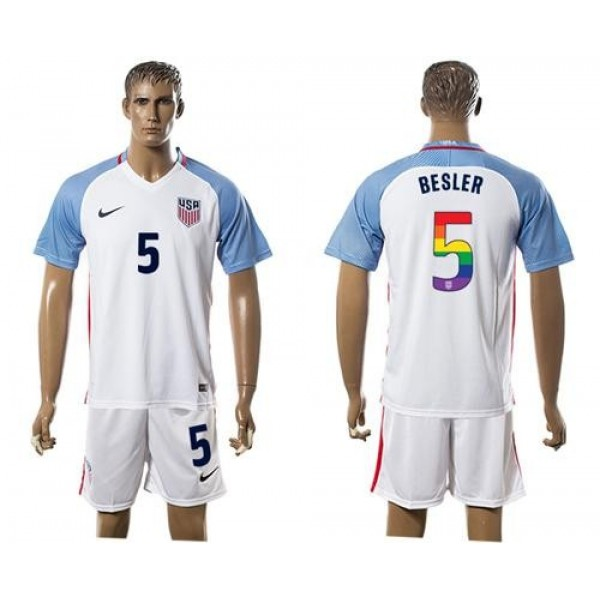 USA #5 Besler White Rainbow Soccer Country Jersey