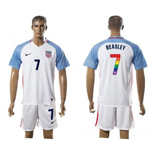 USA #7 Beasley White Rainbow Soccer Country Jersey