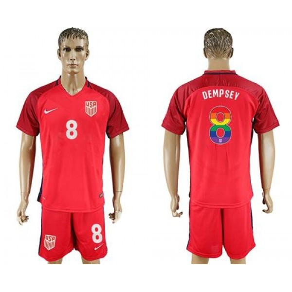 USA #8 Dempsey Red Rainbow Soccer Country Jersey