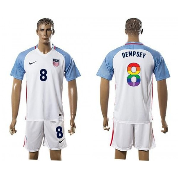 USA #8 Dempsey White Rainbow Soccer Country Jersey