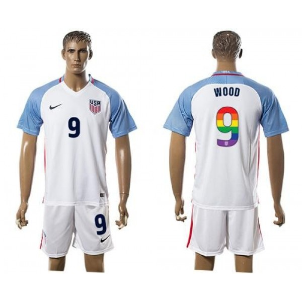 USA #9 Wood White Rainbow Soccer Country Jersey