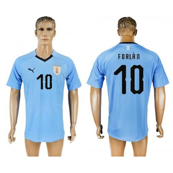 Uruguay #10 Forlan Home Soccer Country Jersey