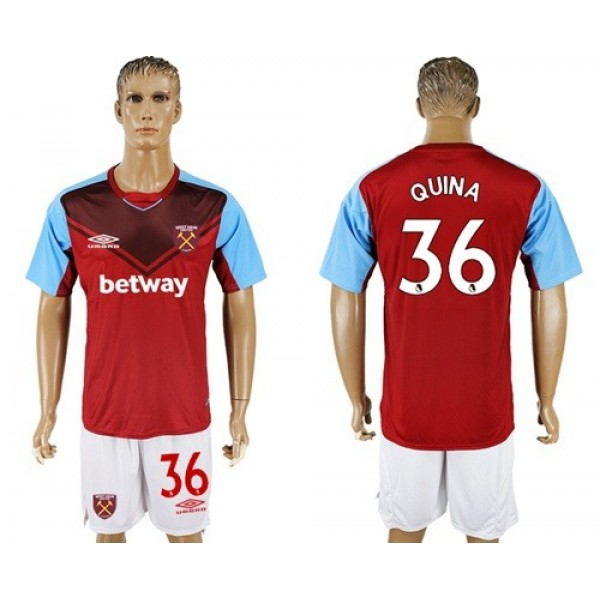 West Ham United #36 Quina Home Soccer Club Jersey